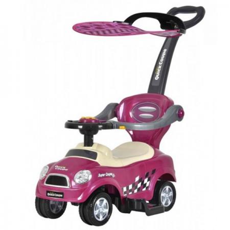 Детска кола за бутане QUICK COUPE 3 в 1 със сенник