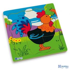 """Andreu toys 4 пъзела в дървена кутия """"Ферма"""""""