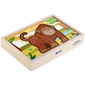 """Andreu Toys 4 пъзела в дървена кутия """"Джунгла"""""""