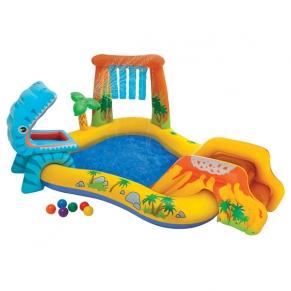Intex Dinosaur - Надуваем център за игра с пързалка Дино, 249х191х109см.