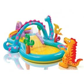 Intex Dinoland - Надуваем център за игра с пързалка Динозаври, 333х229х112см.