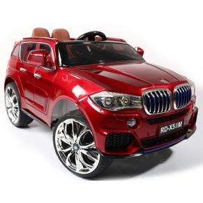 Акумулаторен джип тип BMW M5X, 12V с MP4 видео/дисплей, меки гуми и кожена седалка