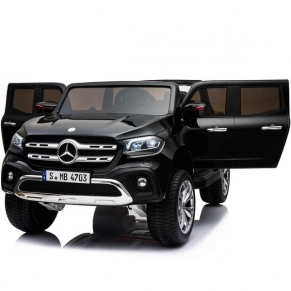 Двуместен акумулаторен джип Mercedes X-Class, 2X12V, MP4 (Видео), 4Х4 с меки гуми и 2 кожени седалки