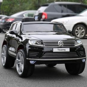 Акумулаторен джип Volkswagen Touareg, 12V, MP4 (Видео) с меки гуми и кожена седалка