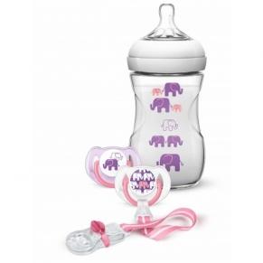 Philips Avent - Подаръчен комплект – дизайн слончета– за МОМИЧЕ