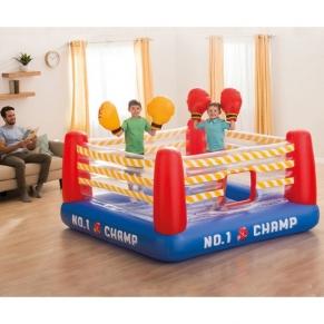 Intex Jump-O-Lene - Детски надуваем батут Боксов ринг, с 2 чифта надуваеми ръкавици, 226х226х110см.