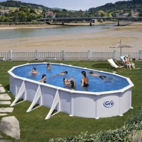 GRE ATLANTIC - Сглобяем басейн с метална стена ,овал, 730 x 375 h 132см.