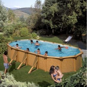 GRE - Сглобяем басейн овален с метална стена имитираща дърво 730х375x120см