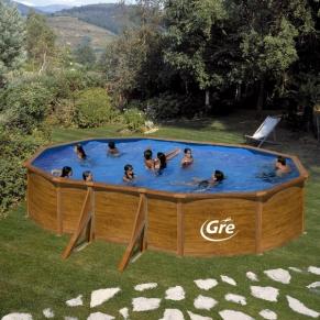 GRE CERDENA - Сглобяем басейн с метална стена ,овал, имитация на дърво, 610 x 375 h 120см.