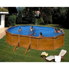 GRE - Сглобяем басейн овален с метална стена имитираща дърво 500х300x120см