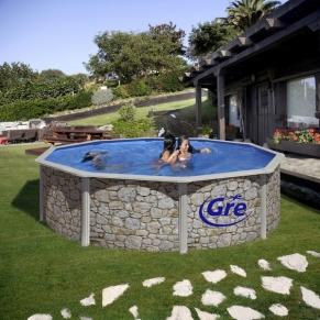 GRE CERDENA - Сглобяем басейн с метална стена , кръг, имитация на камък, ф460 h 120см.