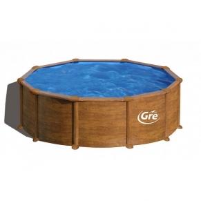 GRE PACIFIC - Сглобяем басейн с метална стена, кръг, имитация на дърво, ф460 h 120см.