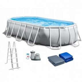 INTEX Prism Frame Oval - Сглобяем басейн с филтърна помпа, 503 х 274 х 122 см.
