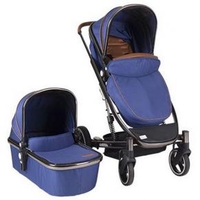 KikkaBoo Divaina TrueNavi Blue - Комбинирана бебешка количка 2 в 1  с кош за новородено