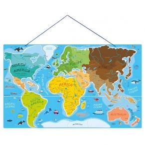 Woody - Магнитна карта на света, пъзел с магнитни части и игра, 2 в 1