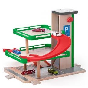 Woody SIKU - Дървен гараж с колички
