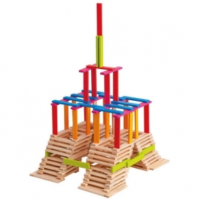 Woody - Дървени цветни тухлички Емма, 200 части