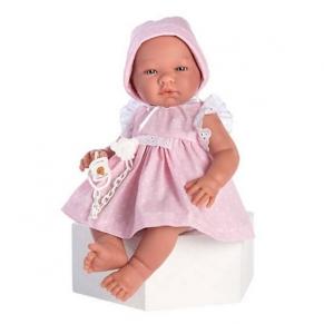 Asi - Кукла-бебе Мария с розова рокля на бели точки