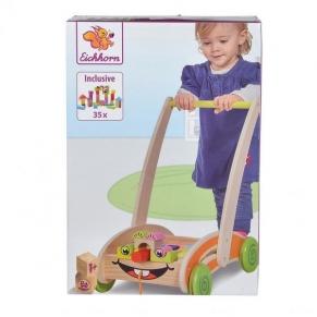 Eichhorn - Дървена количка за прохождане с кубчета 2в1