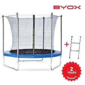 Byox - Детски батут с вътрешна мрежа и стълба (305 см) + дъждобран