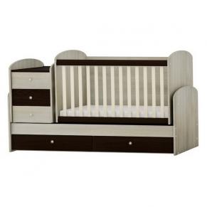 Baby & Junior Дъб и Венге - Трансформиращо се детско легло + матрак