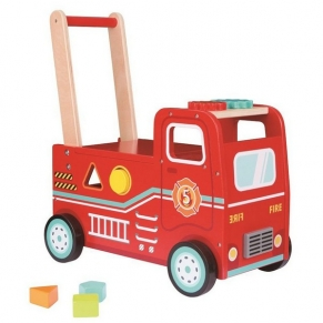 Lelin Toys Пожарна, 2 в 1 - Бебешка проходилка и количка за бутане с крачета