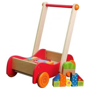 Lelin Toys - Дървена количка за прохождане, с конструктор, 30 части