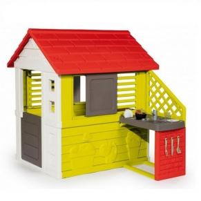 Smoby - Детска пластмасова къща за игра с кът за готвене