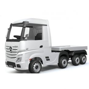 Акумулаторен камион Mercedes ACTROS Licensed 4X4 с ремарке 2X12V батерия, MP4, с меки гуми и кожена седалка
