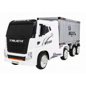 Акумулаторен камион с ремарке-контейнер 4X4,12V с меки гуми с кожена седалка