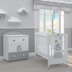 BAMBINO CASA - Комплект бебешко креватче BonBon + скрин с пуш механизми BonBon grigio
