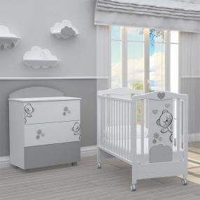 BAMBINO CASA - Комплект бебешко креватче Fiori + скрин с пуш механизми Fiori grigio