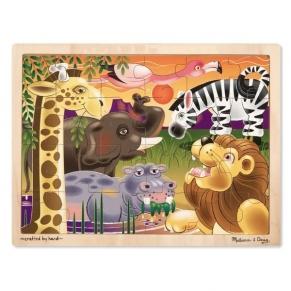 Melissa and Doug - Дървен пъзел с африкански животни 24 части